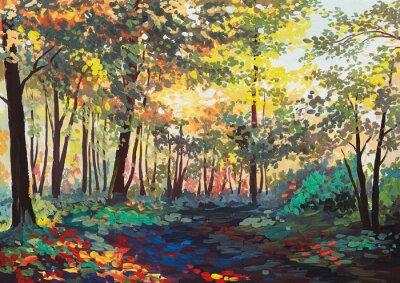 Image forêt colorée avec des arbres au printemps au coucher du soleil, peinture à l'huile