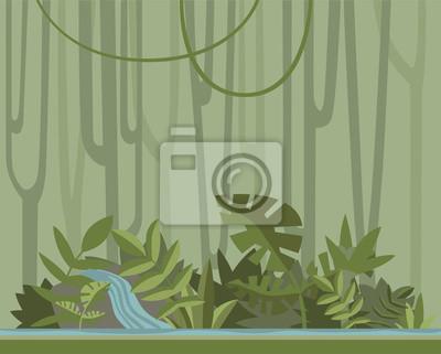 Forêt Jungle Verte Avec Rivière Vector Background Illustration