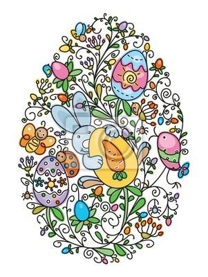 Forme d'oeuf de Pâques couvert de motif d'amusement pour la conception de Pâques