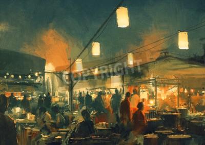 Image Foule, gens, marche, marché, nuit, numérique, peinture