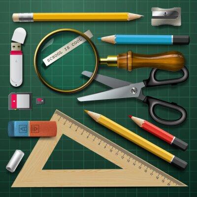 Image Fournitures scolaires coloré, vecteur eps10.