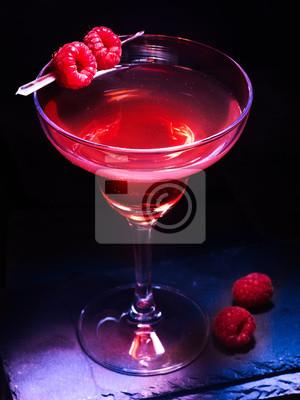 Framboise, martini, cocktail, alcool, boisson, framboises, noir, fond Cocktail de martini.