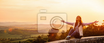 Image Free Happy Woman Enjoying Nature. Freedom Concept. Beauty Girl over Sky and Sun