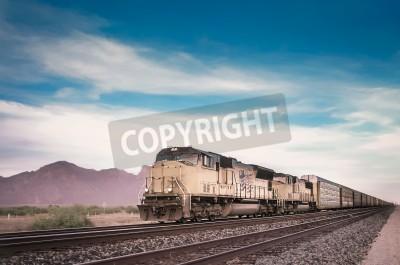 Image Freight train running travelling Arizona desert