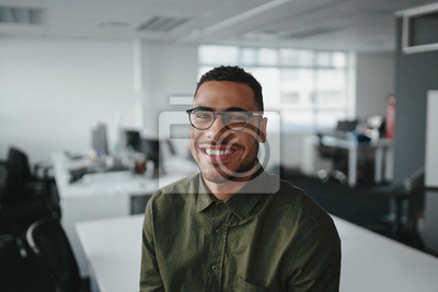 Image Friendly and smiling young african american professional businessman looking at camera in modern office