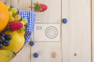 Fruit, panier, bois, fond