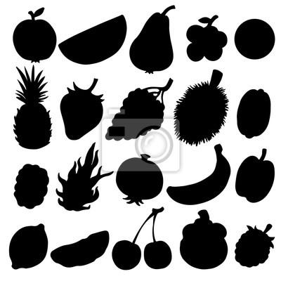Fruits, baies, ensemble, noir, silhouettes, isolé