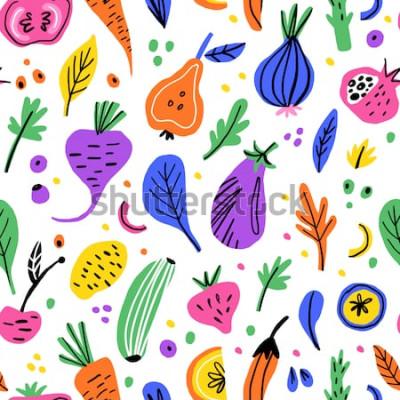 Image Fruits et légumes modèle sans couture dessiné de main plate. Texture de bande dessinée nutrition saine. Illustrations scandinaves d'aliments biologiques. Diet cliparts couleur de croquis. Textile