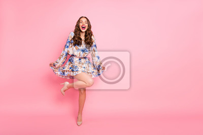 Image Full size photo of pretty lady posing for prom night pictures wear cute dress isolated pink background