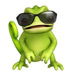 493fd56da5bb8 Fun personnage de bande dessinée caméléon avec lunettes de soleil. Mignon,  porc, dessin animé ...