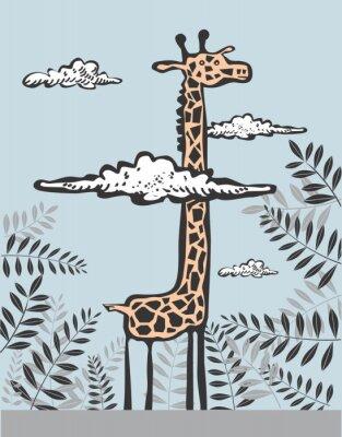 Image Funny giraffe dans les nuages
