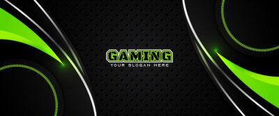 Image Futuristic green abstract gaming banner design template with metal technology concept. Vector illustration for business corporate promotion, game header social media, live streaming background