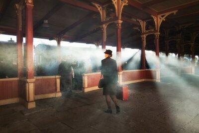 Image gare rétro et fumée de train