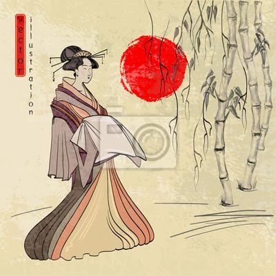 Geisha Ancien Japon Femme Classique Japonaise Style Ancien