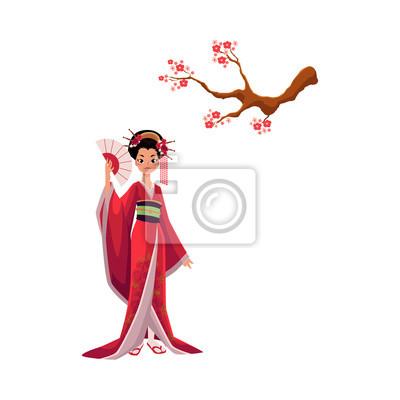Geisha En Kimono Et Cerisier En Fleurs Branche De Sakura Symboles