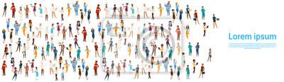 Image Gens groupe différent occupation ensemble, employés mélange course travailleurs bannière Flat Illustration Vecteur