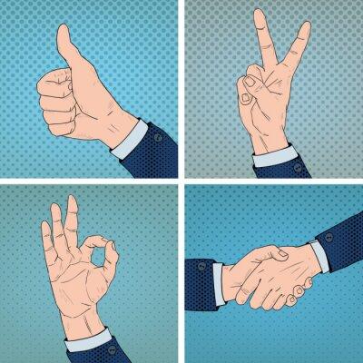Image Gestes de la main dans le style Comic Pop Art