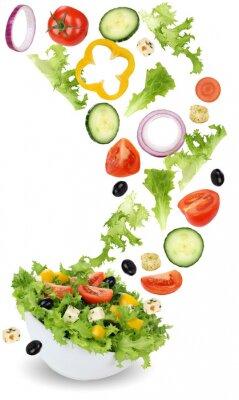Image Gesund Vegetarisch Essen Salat mit Tomate, Gurke, Zwiebel und Pa