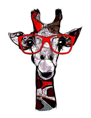 a40380264e9ab Girafe avec lunettes de soleil peintures murales • tableaux ...