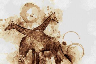 Image Girafe. Digital Art Coffee tache haletant.