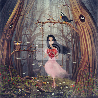 Girl, assied, balançoire, forêt