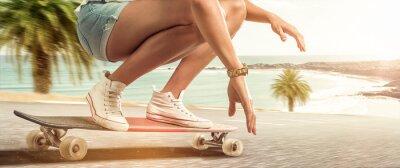 Image Girl cruising with her longboard