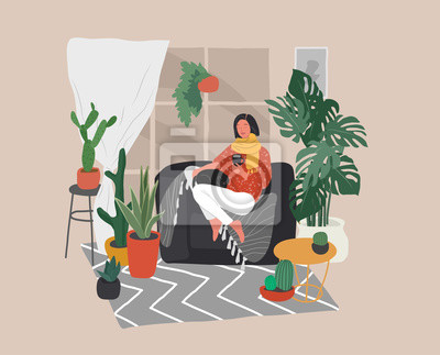 Image Girl sitting and resting on the couch with a cat and coffee. Daily life and everyday routine scene by young woman in scandinavian style cozy interior with homeplants. Cartoon vector