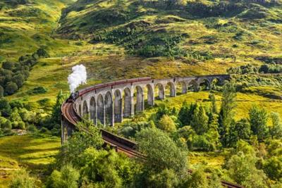 Image Glenfinnan, chemin de fer, viaduc, Écosse, Jacobite, vapeur, train, dépassement