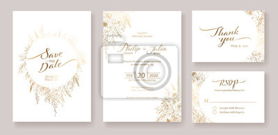 Image Gold Wedding Invitation, save the date, thank you, rsvp card Design template. Vector. winter flower, Rose, silver dollar, olive leaves, Wax flower, Anemone.