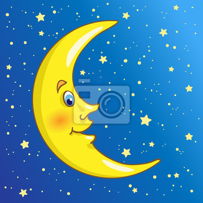 Golden crescent in cartoon style on the night sky among the stars.