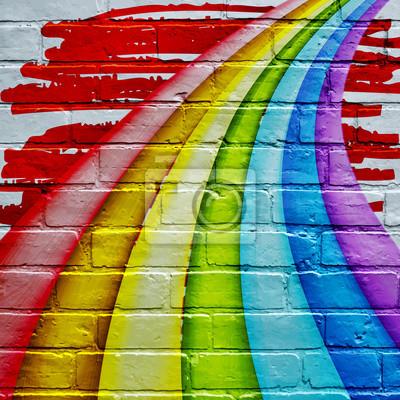 Graffiti Arc En Ciel Peintures Murales Tableaux Art De La Rue Panache Indigo Myloview Fr