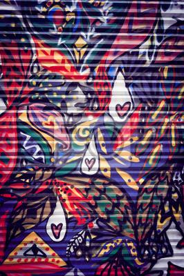 Image Graffiti coloré sur porte Métallique
