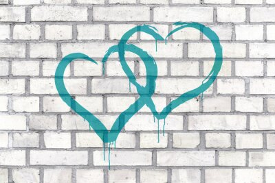 Image Graffiti Hearts rendered on a wall background