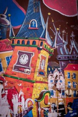 Image Graffiti maison aux couleurs vives
