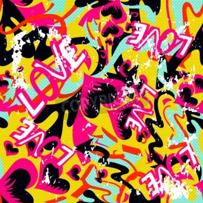 Image Graffiti Valentine Day seamless fond grunge texture