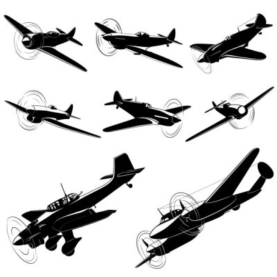 Image Grand ensemble de silhouettes de vecteur de vieux combattants
