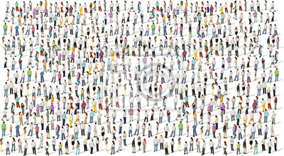 Image Grand groupe de personnes sur fond blanc
