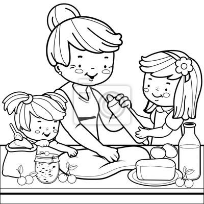 Image Grand Mère Et Cuisine Pour Enfants Dans La Cuisine Page De Coloriage