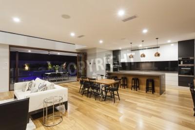 Grand salon moderne cuisine et jardin peintures murales tableaux plancher en bois piscine - Grand salon moderne ...