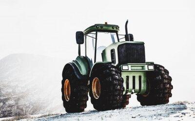 Image Grand tracteur vert robuste sur une montagne