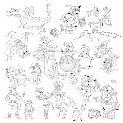 Grande Collection De Personnages De Conte De Fees Conte De Fee Peintures Murales Tableaux Troll Nain Gnome Myloview Fr