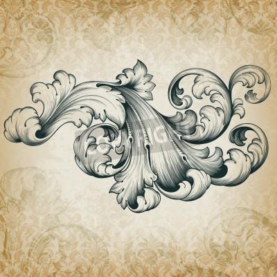 Image Gravure baroque élément floral de motif d'acanthe conception de frameborder défilement filigrane cru au rétro grunge damas fond