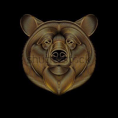 Image Gravure d'ours d'or stylisée sur fond noir. Dessin linéaire.