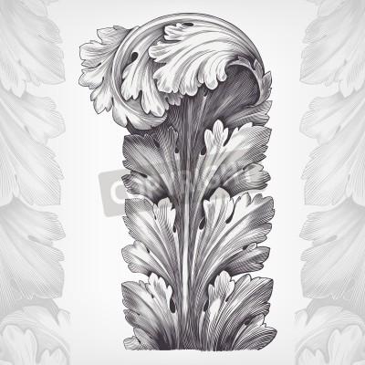 Image Gravure millésime ornement de feuilles d'acanthe avec rétro modèle dans le vecteur de conception décorative de style rococo antique