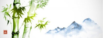 Image Green bamboo and far blue mountains on white background.Traditional Japanese ink wash painting sumi-e. Hieroglyph - eternity.