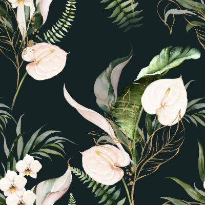 Image Green tropical leaves and blush flowers on dark background. Watercolor hand painted seamless pattern. Floral tropic illustration. Jungle foliage.