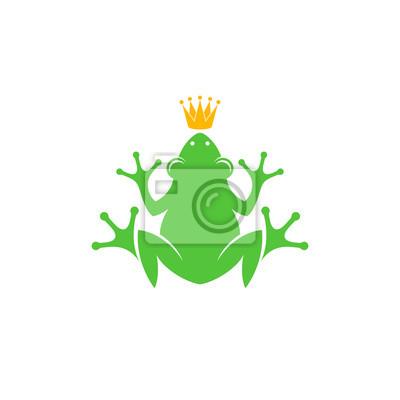 Grenouille Couronne grenouille avec couronne. logo peintures murales • tableaux amphibie
