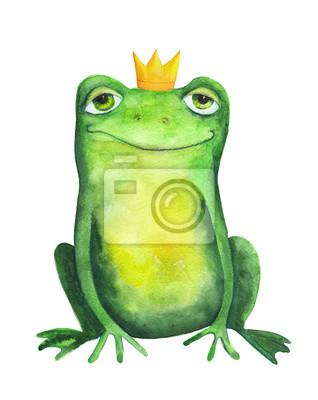 Grenouille Couronne grenouille dans la couronne. aquarelle peintures murales • tableaux