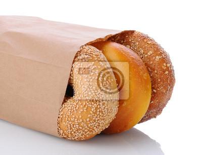 Gros plan de Bagels dans un sac