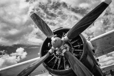Image Gros plan, vieux, avion, noir, blanc